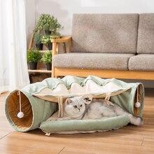 Gato túnel dobrável puro algodão cama de gato macio confortável com bola pet não entediado interessante interativo jogar brinquedos