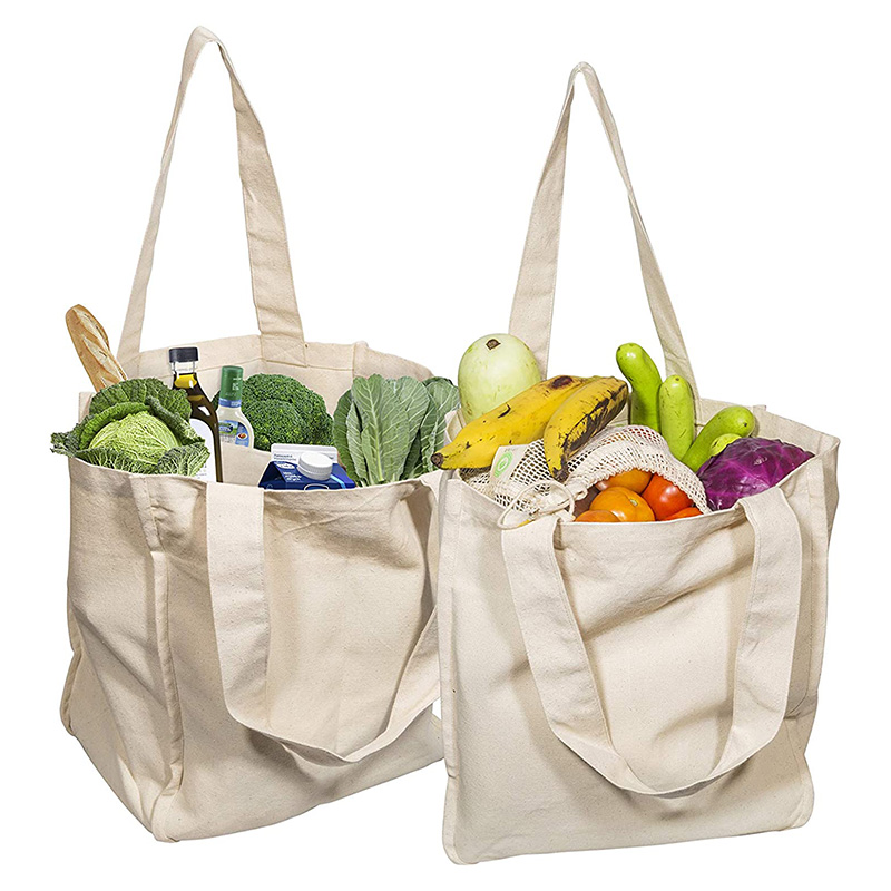 Canvas Grocery Shopping Bags Cloth Tote Shopping Bags With Bottle Sleeves Reusable Grocery Washable & Eco-friendly Handle Bag