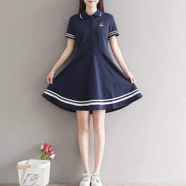 Summer Student Girls Japanese School Uniform Dress Navy White Sailor Dresses Women Loose Short Sleeve Cotton Knitted Dress