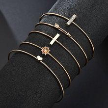 6 шт богемные браслеты манжеты с золотым сердцем для женщин