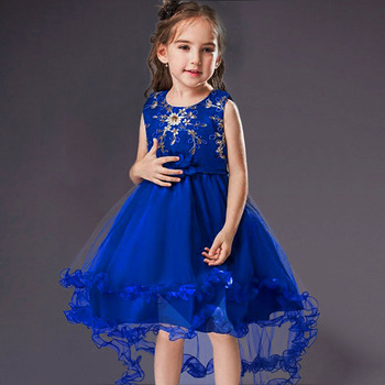 Girls Sleeveless Princess Children flower Party dress Wedding 3-12 Years Girls Trailing Party Prom High Quality Lace vestido 5