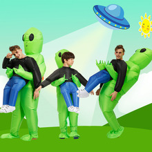 Green Alien Carrying Human Costume Inflatable Funny Blow Up Suit Cosplay for Party Halloween HYD88
