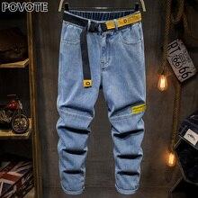 POVOTE 2020 новые светло-голубые потертые джинсы мужские тонкие, упругие и ретро леггинсы тенденция Европейский и американский