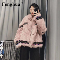 Fenghua Faux Lamb Fur Coat Women 2019 Casual Furry Thick Warm Winter Coat Lady Pink Loose Coat Korean