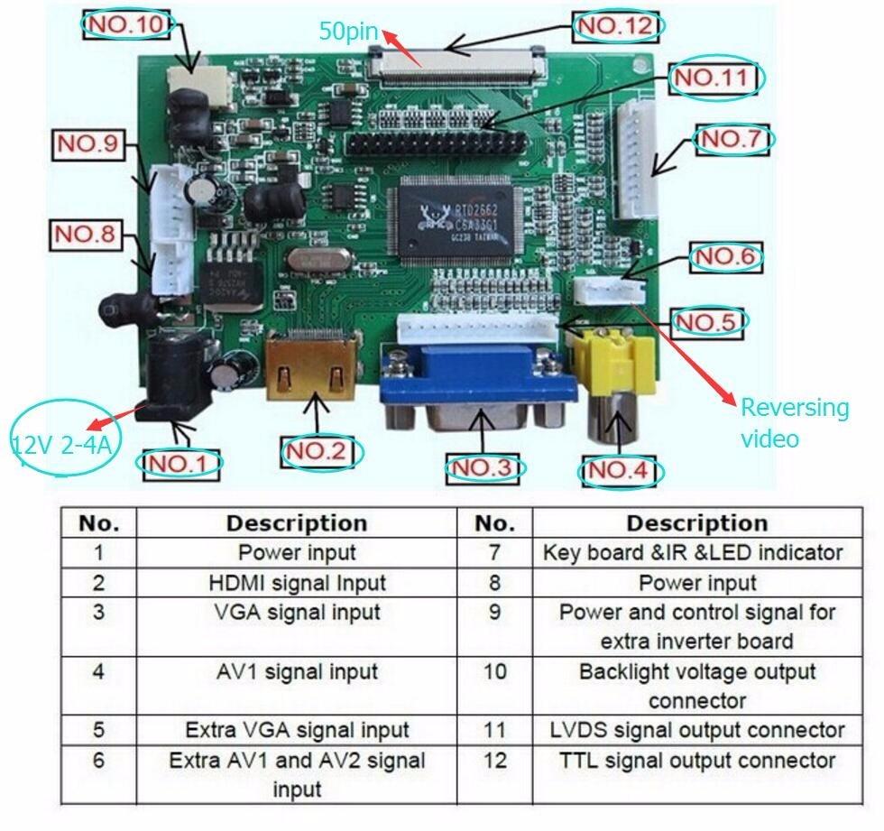 Универсальный HDMI VGA 2AV 50PIN TTL LVDS плата контроллера, модуль монитора для Raspberry PI LCD AT070TN92 tn90 94 панель Бесплатная доставка
