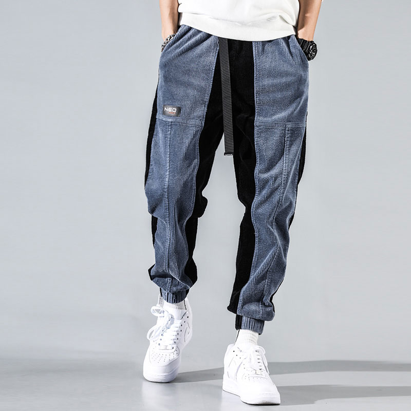 Fashion Streetwear Men Jeans Loose Fit Spliced Designer Casual Corduroy Cargo Pants Harem Trousers Japanese Hip Hop Jogger Pants