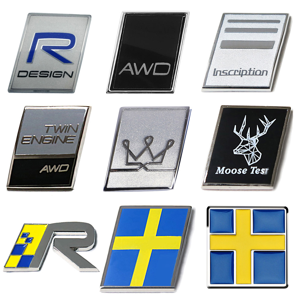 Rear Trunk R AWD Inscription Swedish Flag Badge Emblem Sticker For <font><b>VOLVO</b></font> S40 S70 S80 C70 XC60 XC70 V40 <font><b>V50</b></font> V70 V90 Car <font><b>Styling</b></font> image