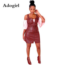 Adogirl Solid Color Pu Spaghetti Strap Straight Pencil Mini Dress Fall Classic Streetwear Women Sleeveless Vestidos with Sashes