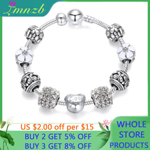 Beads Bracelet Fashion Jewelry LMNZB Silver Charm Crystal Women Gift White for Girl BR052
