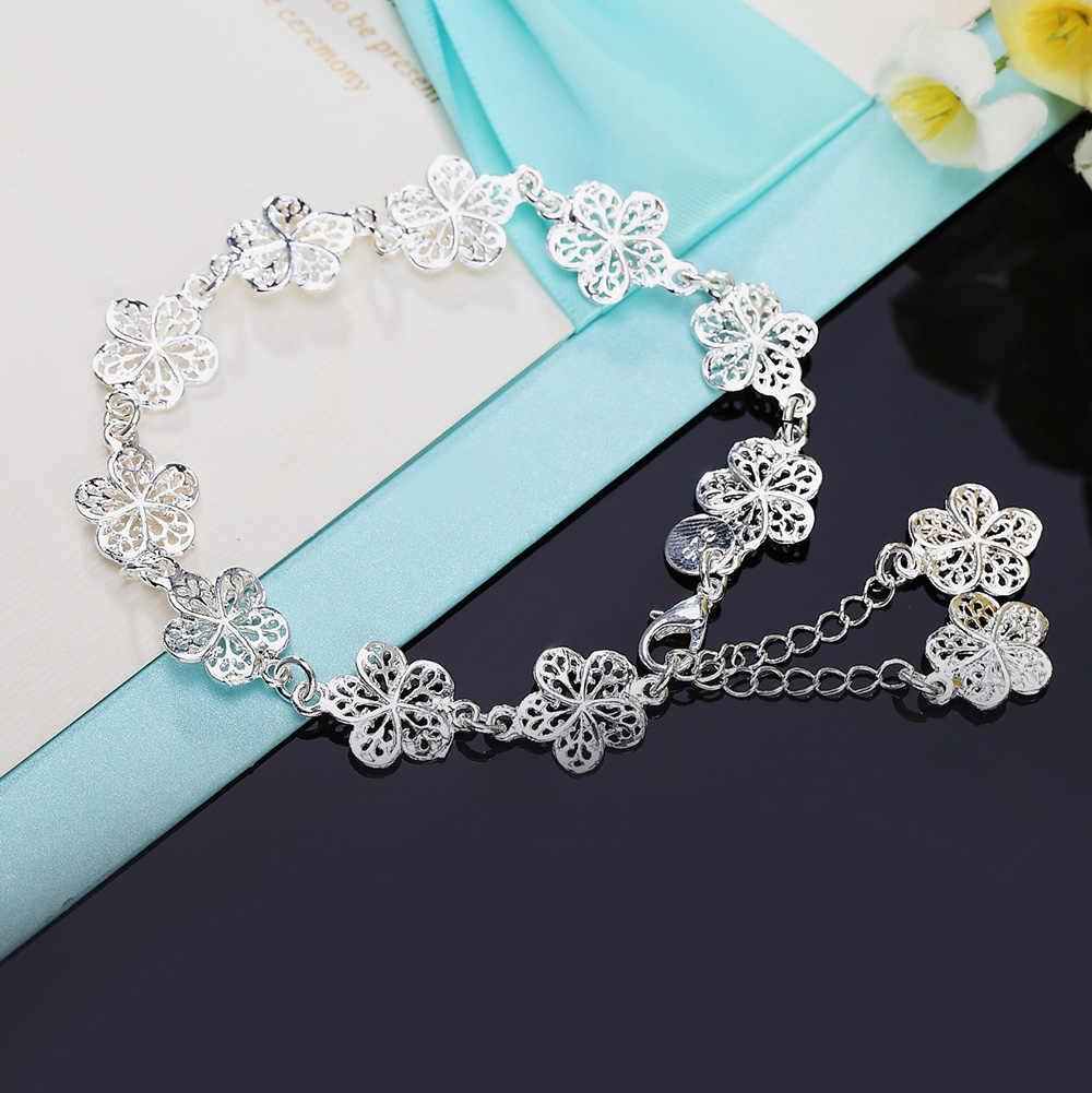 מכירה לוהטת כסף צבע צמיד יפה פרחים לנשים קלאסי באיכות גבוהה תכשיטים סיטונאי JSH-lh013