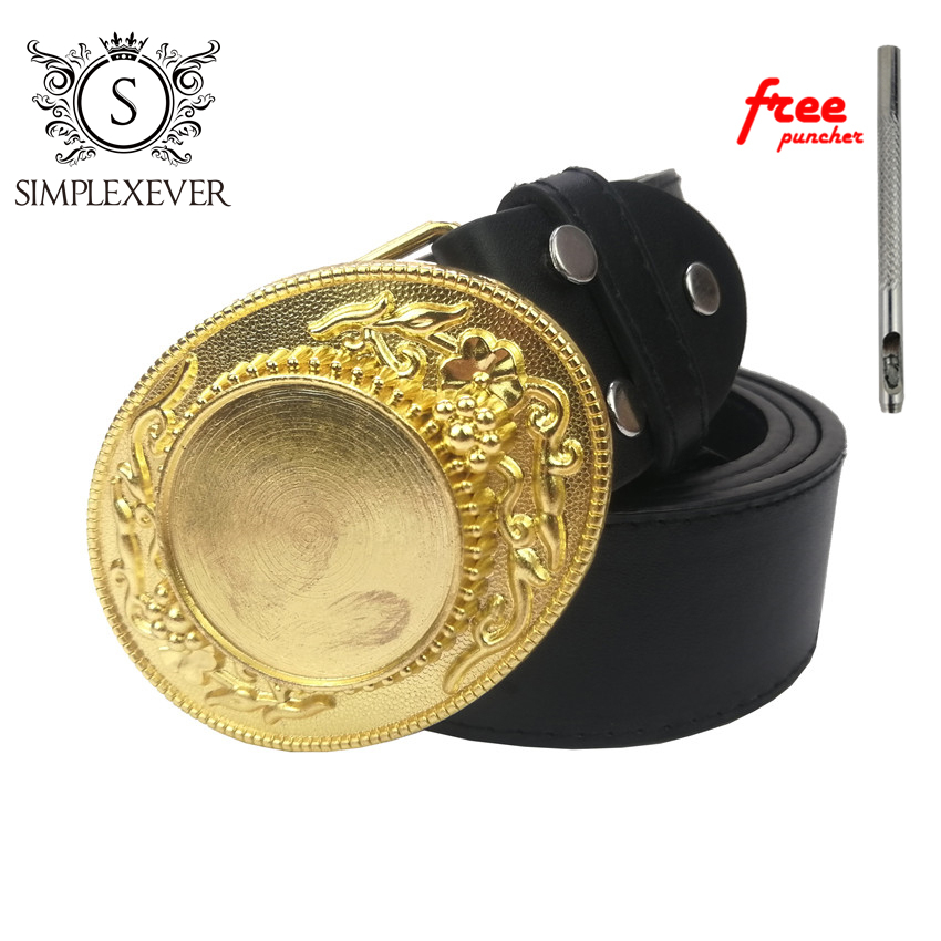 Golden DIY Belt Buckle For Men Luxury Blank Mens Belt Buckle Nice Custom Gifts With Leather Belt Dropshipping