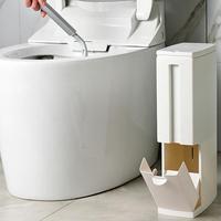 3 in 1 Narrow Plastic Trash Can Set with Toilet Brush Bathroom Waste Bin Dustbin Trash Cans Garbage Bucket Garbage Bag Dispenser