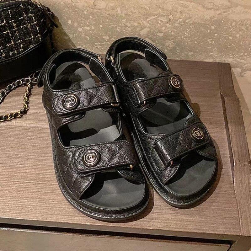 DXFAN/Босоножки на платформе с петлей на липучке; Женские однотонные спортивные летние сандалии в мелкую клетку; Женская дизайнерская обувь, увеличивающая рост Боссоножки и сандалии      АлиЭкспресс