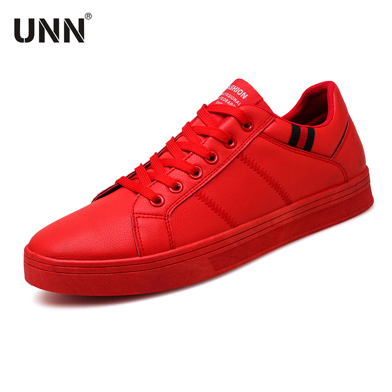 UNN New Designer Red Sneakers For Men Shoes Leather Walking 2020 Sprin