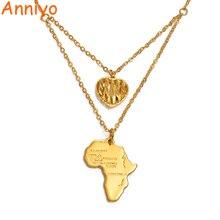 Anniyo Шарм Сердце Африканская Карта ожерелья для женщин золото Цвет эфиопские Ювелирные изделия Подарки карты#013321