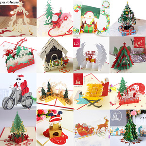 3D Pop UP Santa Cards Marry Christmas Greeting Cards Party Invitations Gifts New Year Greeting Card Anniversary Gifts Postcard