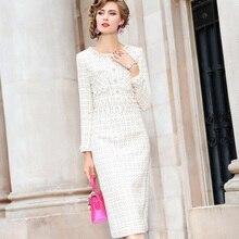 فستان نسائي للربيع مثير وجديد موضة 2020 فستان عمل ضيق كلاسيكي فستان للتدفئة لفصل الشتاء للمشاهير فساتين الكريسماس بخرز للأظافر