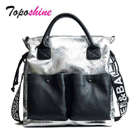 Toposhine Large Capacity Women Bags Fashion Shopping Bag Double Pocket Girl Casual Tote 2019 Young Lady Handbags Shoulder Bag Pakistan