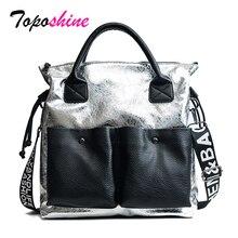 Toposhine bolsas de gran capacidad para mujer, bolso de compras de moda, bolso de mano Casual para chica de doble bolsillo, bolso de hombro 2019 para mujer joven