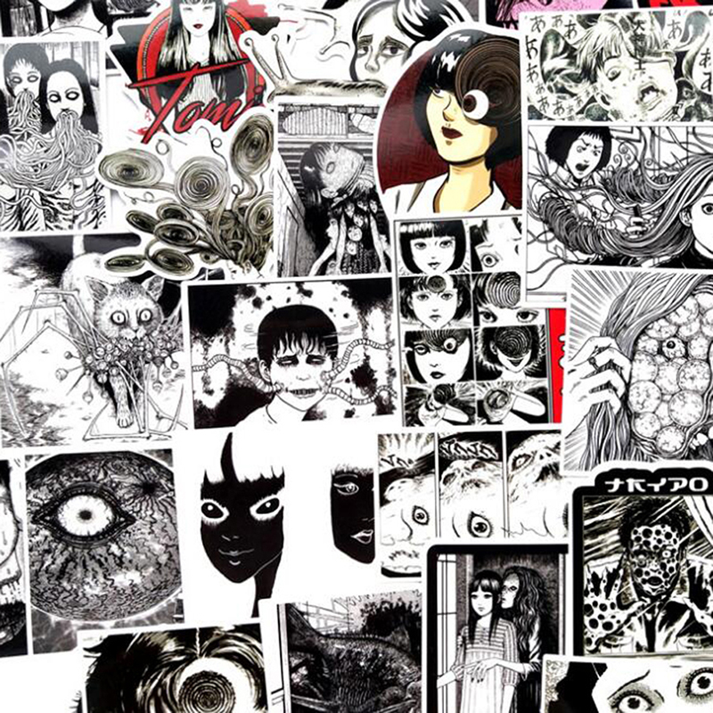 56Pcs Horror Comics Stickers Japanese ITO leap second Laptop Luggage Decals* uh
