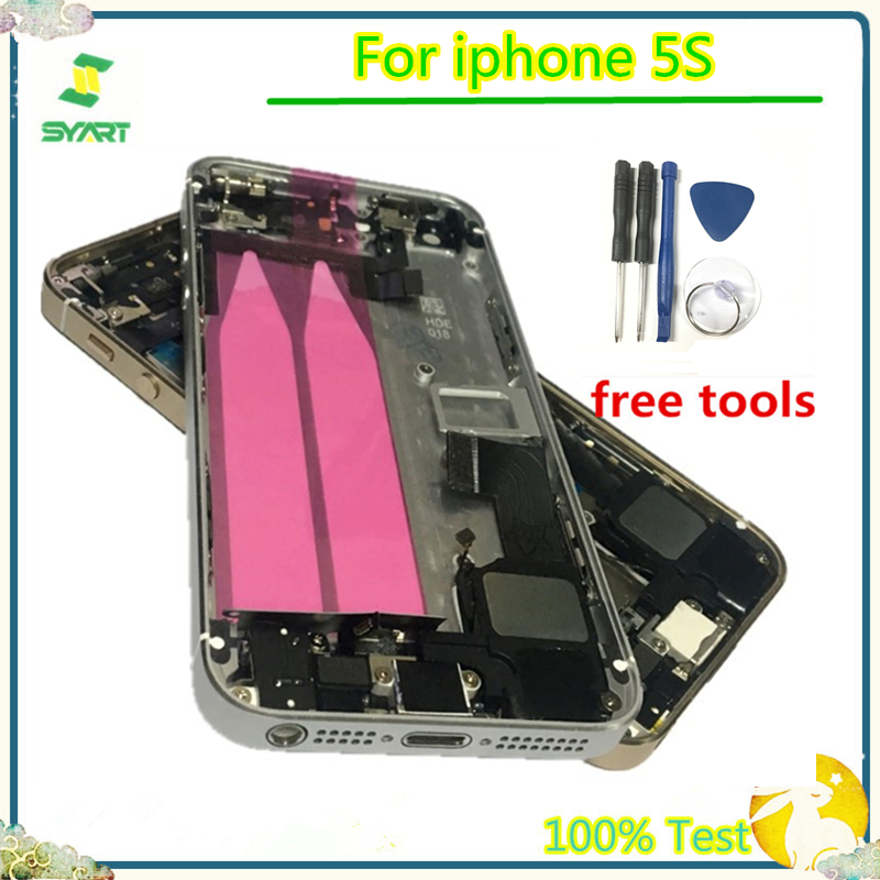 5GS Back Battery Full Cover Middle Frame Bezel Chassis Batteries Case With Flex Cable Assembly For IPhone 5S 5GS