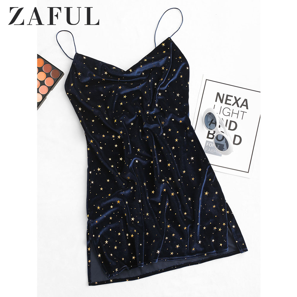 ZAFUL Stars Side Slit Velvet Cami Dress Women Star Cocktail Party Mini Dresses Sleeveless Spaghetti Strap A-Line Skinny Dresses