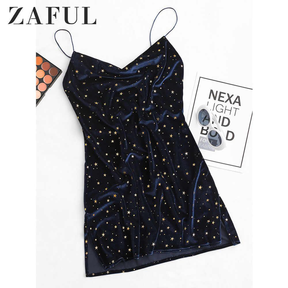 ZAFUL Stars Side Slit Velvet Cami Dress Women Star Cocktail Party Mini Dresses Sleeveless Spaghetti Strap A-Line Skinny Dresses