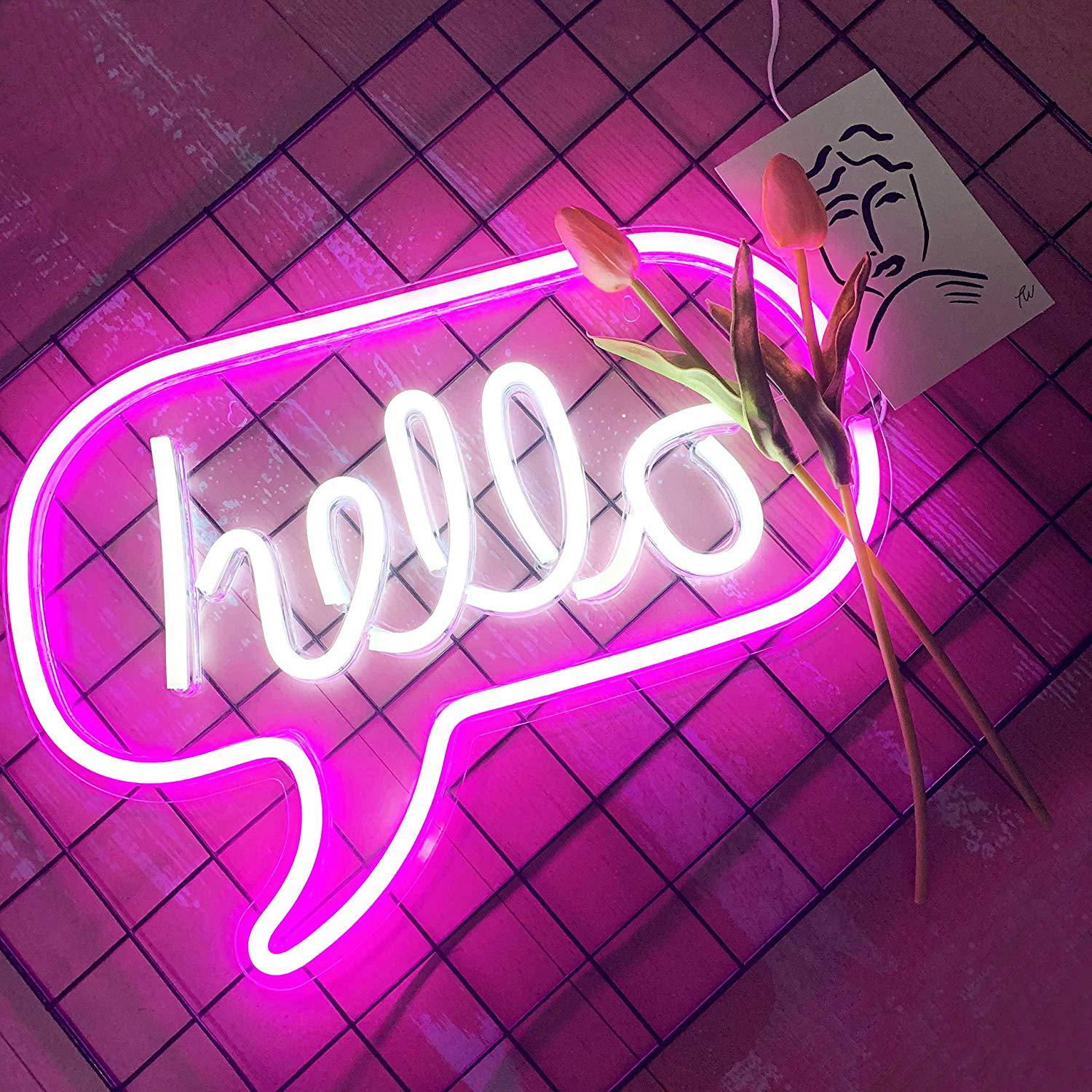 LED Hello Neon Light Sign Letters Neon Sign  Party Wedding Decorations Home Wall Decor Neon Lamp Gifts Panel Holiday Christmas