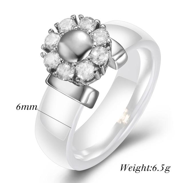 Black&White Ceramic Rings For Women Cubic Zircon Stainless Steel Engagement Wedding Rings Elegant Love Rings Ceramic Jewelry 3