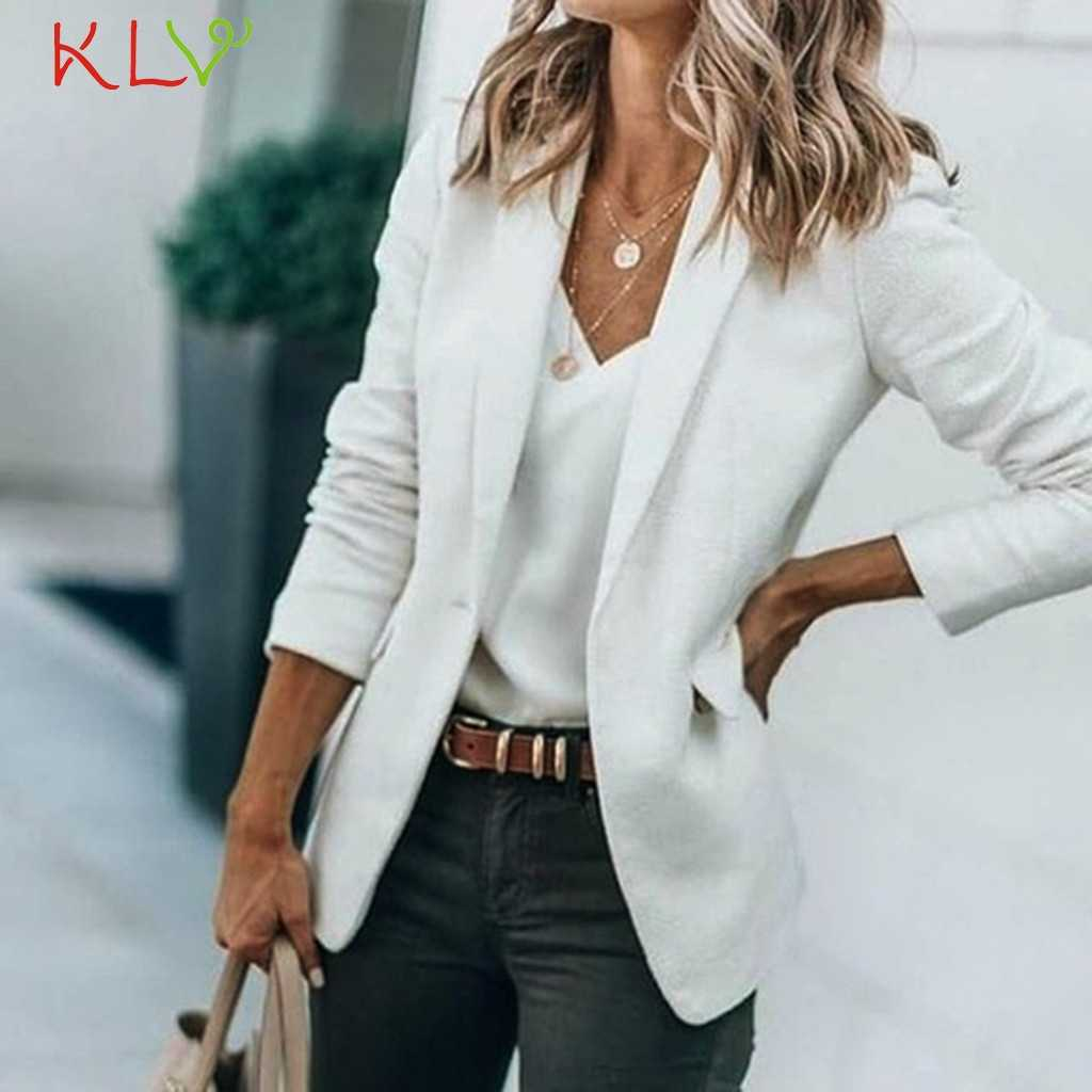 Women Blazer Jacket Solid Elegant Slim Suit Coat Office Ladies Outerwear Open Stitch Female Casual Chic Tops Fake Pocket 19Sep