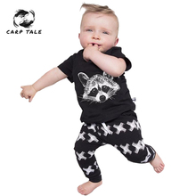 Baby Boys Clothing Sets Baby Girls Boys print Cotton Tops T-shirt+Pants Leggings 2pcs Outfits Set Costume Newborn Clothes 3-24M цена 2017