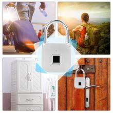 купить Zinc Alloy Smart Fingerprint Waterproof Padlock LED Door Lock Security Keyless Latch дешево