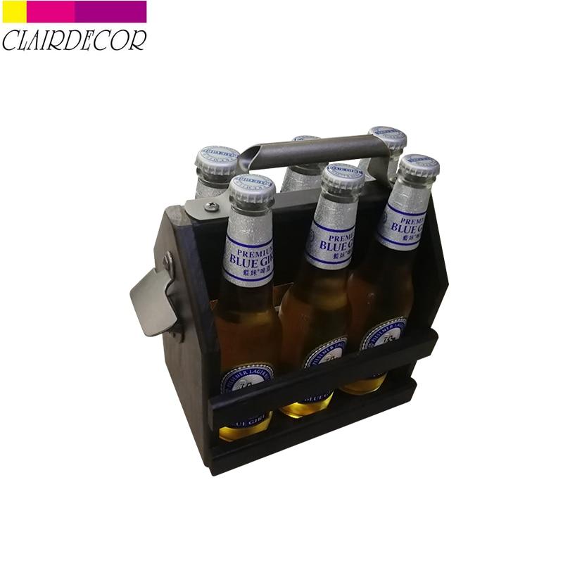 Bar Tool Zinc Alloy Beer Bottle Opener Funny Wooden Wine Baskets Beer Caddy