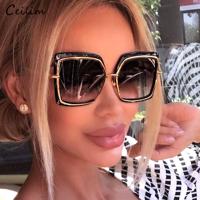 Oversized Sunglasses Women Brand Designer Metal Square Eyewear 2021 New Female Shades Big Mirror Sun Glasses Superstar oculos