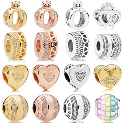 2019 NEW 100% 925 Sterling Silver Signature Crown Heart Round Charm Shine Gold Clear CZ Bead DIY Bracelet Original Women Jewelry