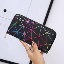 Women Wallets 2019 New Brand Geometry Luminous Clutch Long Female Zipper Phone Bag High Capacity Women Coin Purse Holders Hot