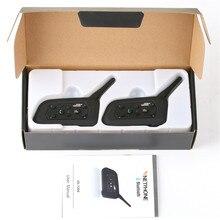 Oreillette Bluetooth V6 Pro pour Moto rcycle, appareil de communication sans fil pour casque, Intercom étanche IP65, portée 1200m, kit mains libres MP3, 2 pièces