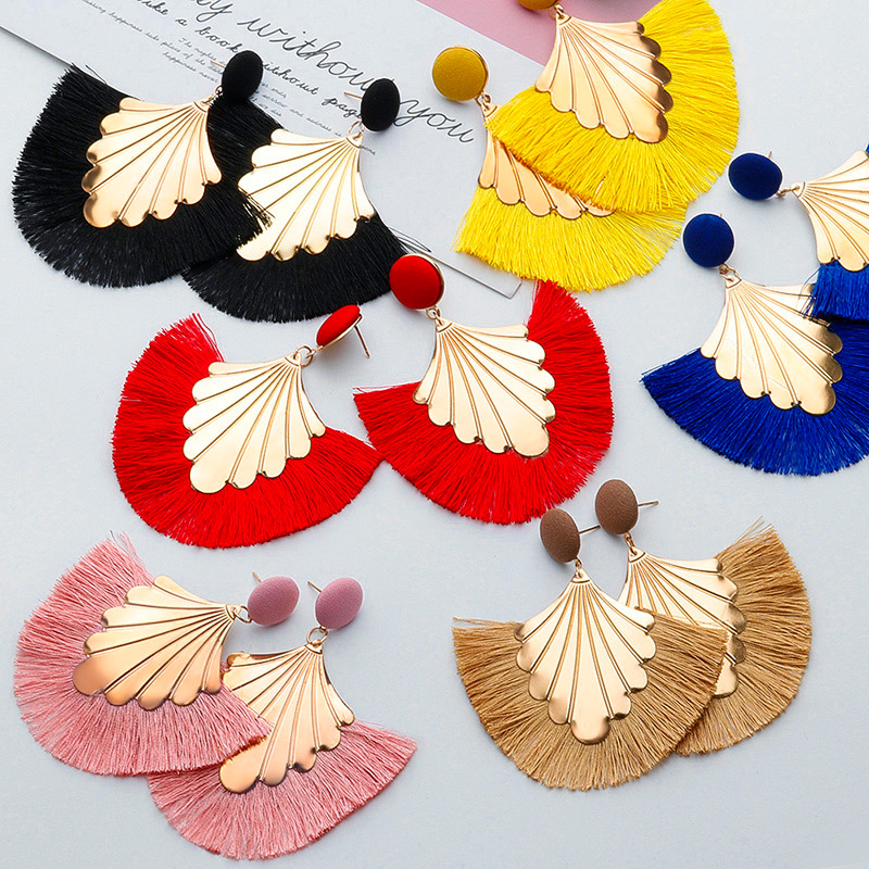 H8fcc9ce71ebb4af2beb2132332a045058 - BLINLA Fashion Bohemian Big Tassel Dangle Drop Earrings for Women Statement Wedding Red Fringe Female Earrings Za Jewelry