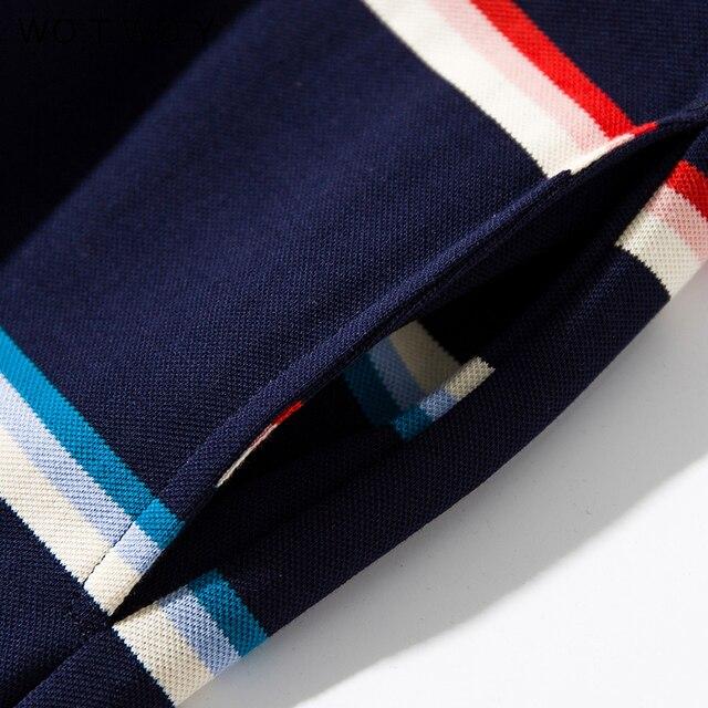 WOTWOY été coton rayé robe femmes 2020 décontracté tricot côtes col rabattu femmes robe genou-longueur robe Femme ceinture poches
