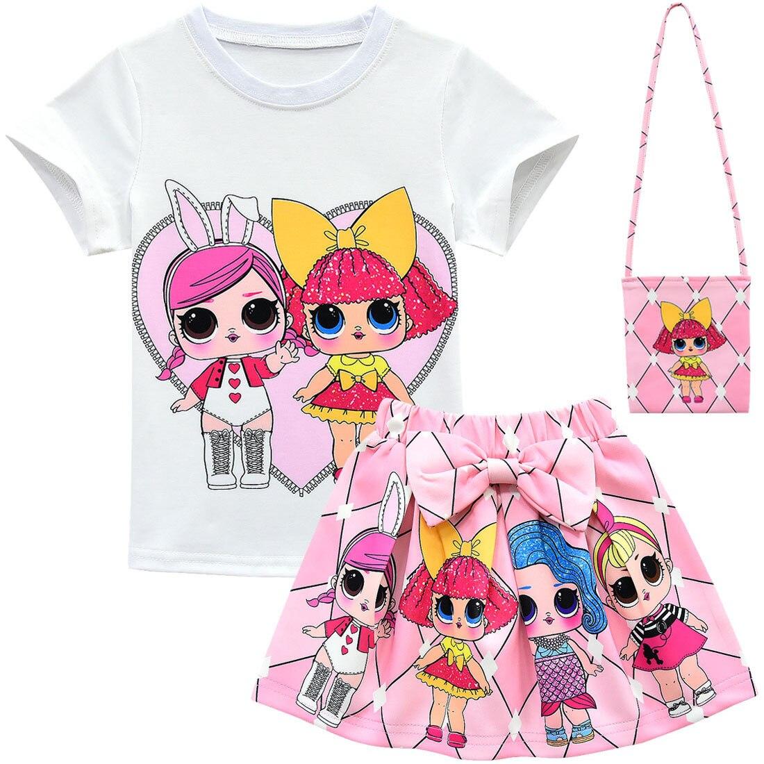Surprise Doll Girls Cartoon Outfits T-shirt+Skirt+Bag Summer Uniform Costume