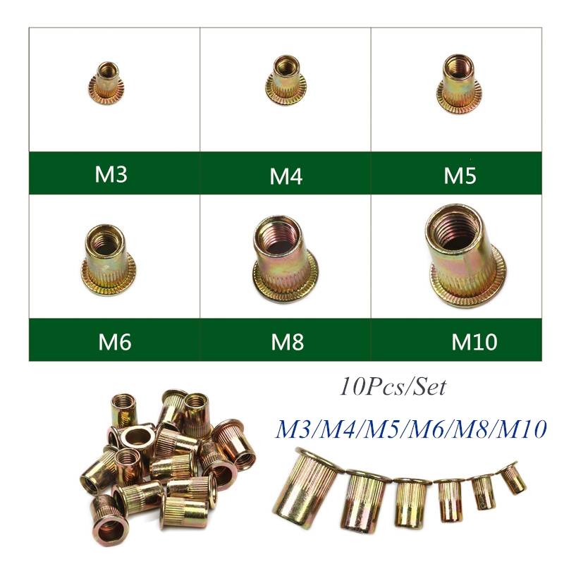 10Pcs M3 M4 M5 M6 M8 M10 Zinc Plated Knurled Nuts Rivnut Flat Head Threaded Rivet Insert Nutsert Cap Rivet Nuts