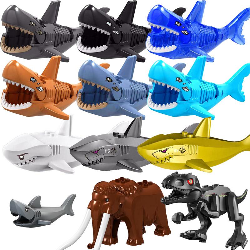 Animals Tiger Leopard Bear Elephant Caribbean Ghost Shark Dinosaurs Model Building Blocks Enlighten Figure Toys For Children