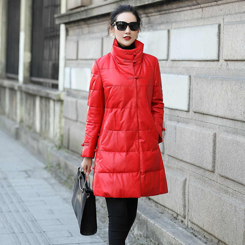 Jas Lange Echte Schapenvacht Vrouwen Winter Warm Real Leather Down Jas 2020 Luxe Jaqueta Couro 008 KJ2528