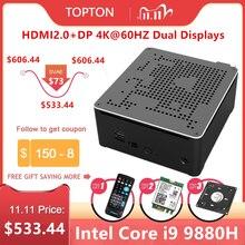 Topton 2 רשתות LAN מיני משחקי מחשב Intel Core i9 9880H 8 ליבות 16 אשכולות מחשב שולחני 2 * DDR4 2 * M.2 NVMe Win10 פרו 4K HTPC HDMI DP
