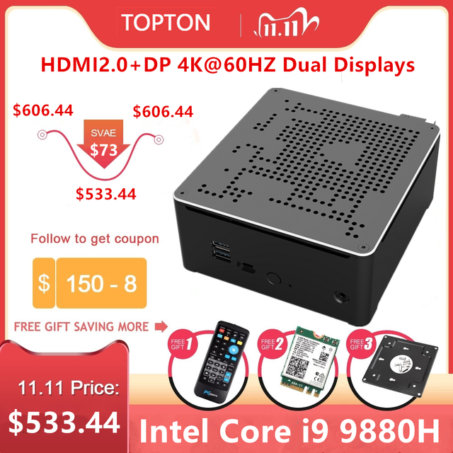 Topton 2 LANS Mini Gaming PC Intel Core i9 9880H 8 Cores 16 Threads Desktop Computer 2*DDR4 2*M.2 NVMe Win10 Pro 4K HTPC HDMI DP