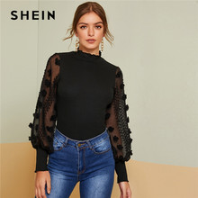 SHEIN Black Lettuce Trim Applique Sheer Bishop Sleeve Top Autumn Stand Collar Office Ladies Elegant Slim Fitted Tops and Tees(China)