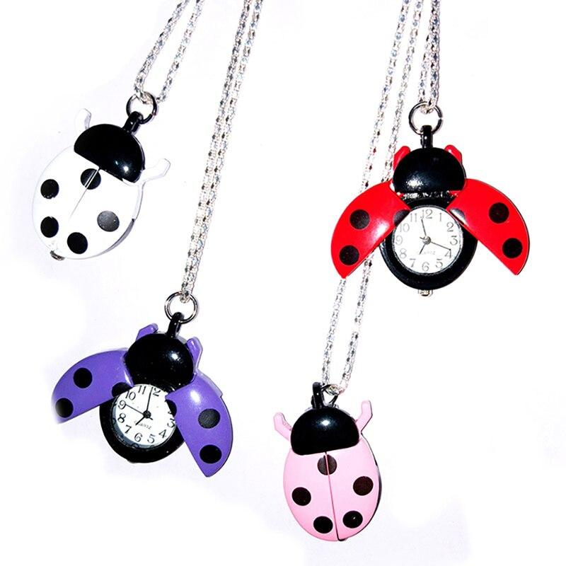 Fashion Ladybug Beetle Kids Pocket Watch Portable Pocket Watch Sweater Chain Pendant Clock Pendant Boy Girl Gift