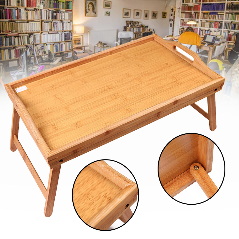 Drawing Kids Reading Breakfast Home Portable Foldable Lap Tray Laptop Desk Multipurpose Bed Table Solid Wood Serving