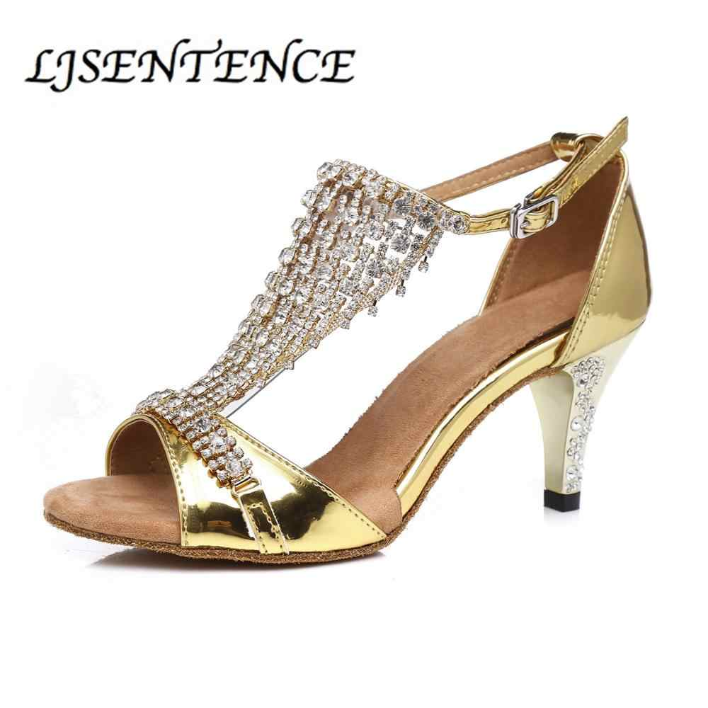 Tanzen Jazz Schuhe Latin Dance Schuhe Für Frauen Salsa Bachata Salsa Bling Chacha Sandalen Mädchen Ballsaal Gold Rosa Cuban Heels neue
