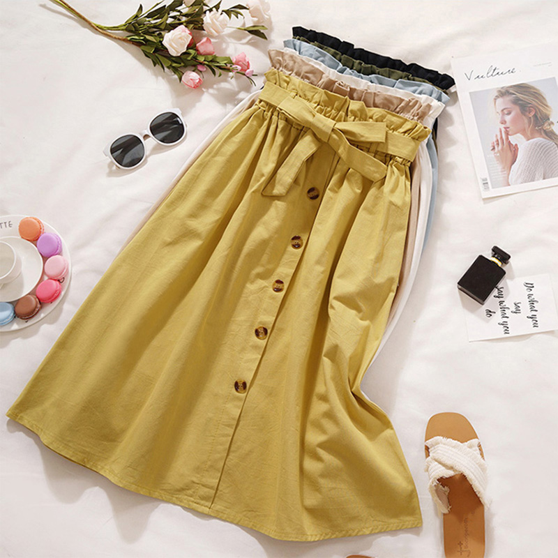 6 Colors Women High Waist Pleated Skirts Elegant Sweet Lace Up Skirt Hot Sale Autumn Solid Button Knee-Length Skirt Ropa Mujer